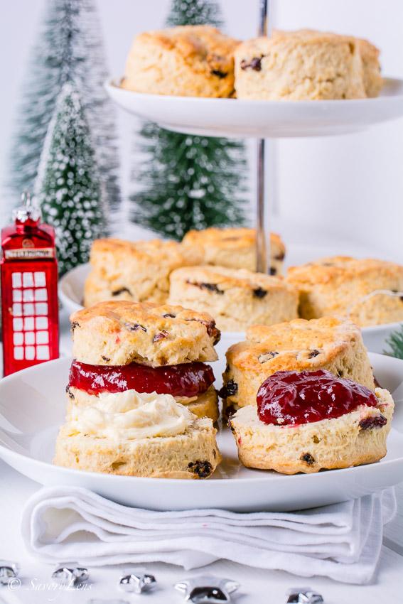 British Scones with Christmas Jam