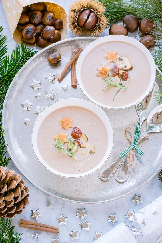 Winterliche Maronensuppe mitChorizo und Champignons