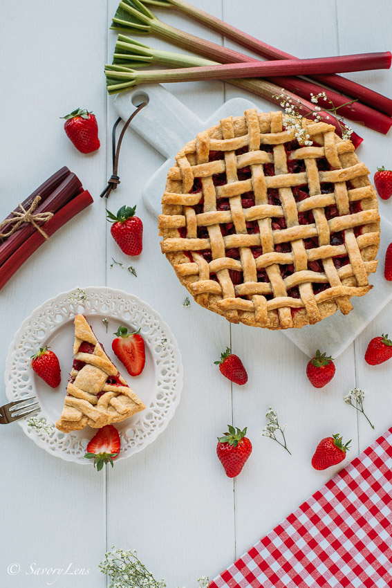 Rhubarb-Strawberry Lattice Pie
