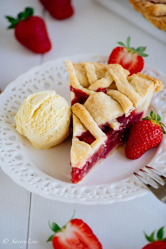 Rhubarb-Strawberry Lattice Pie