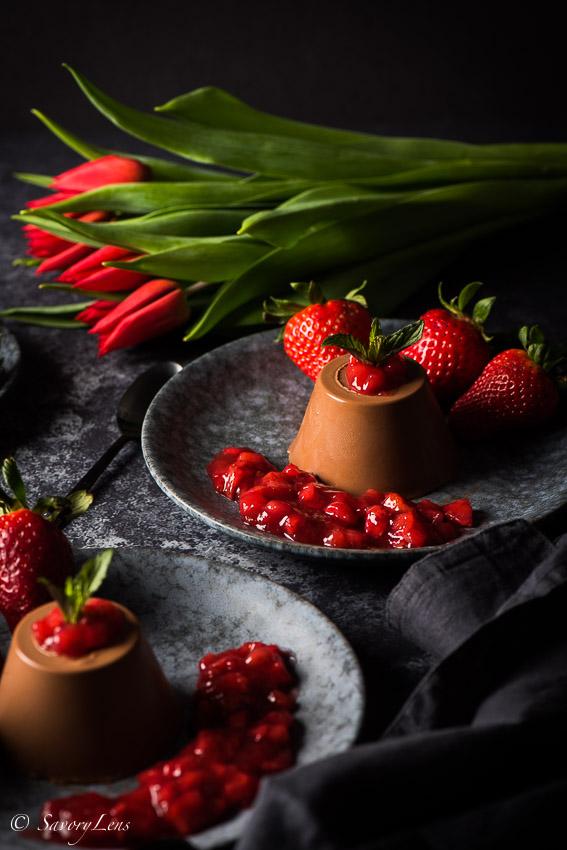 Schokoladen-Tonkabohnen-Panna Cotta