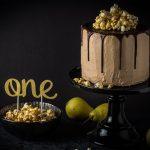 Birnen-Nougat-Torte mit Karamell-Popcorn