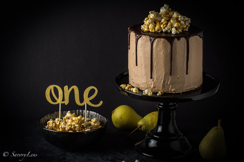 birnen nougat torte mit karamell popcorn savorylens. Black Bedroom Furniture Sets. Home Design Ideas