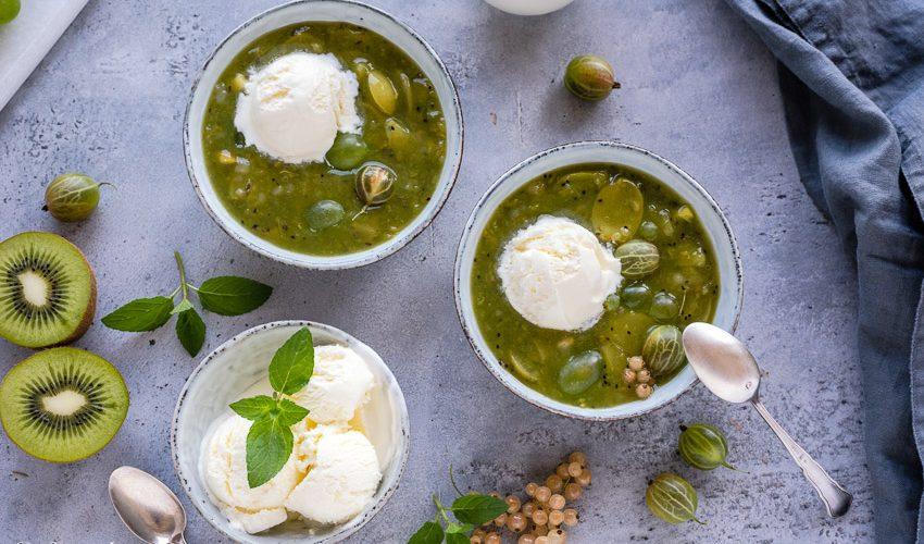 Grüne Grütze mit Fior di Latte Eis