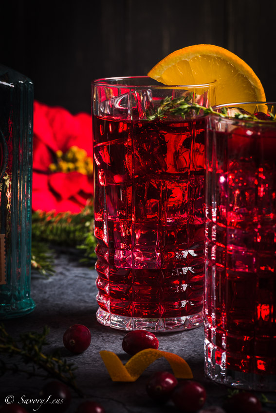 Santa's Delight- Cranberry-Gin Cocktail