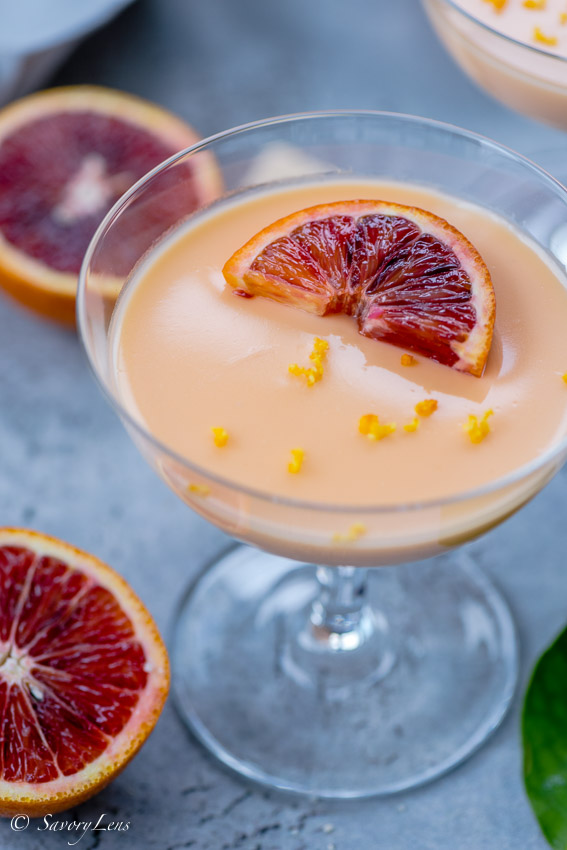 Blood Orange Posset mit Shortbread