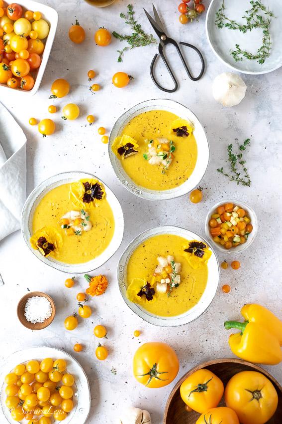 Gelbe Gazpacho - Kalte Sommersuppe für heiße Tage – SavoryLens