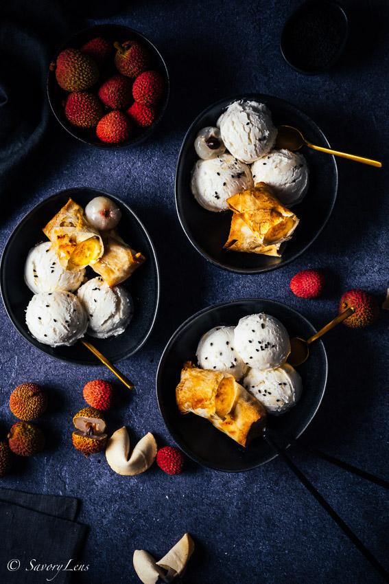 Lychee Eis mit gebackenen Bananen – SavoryLens