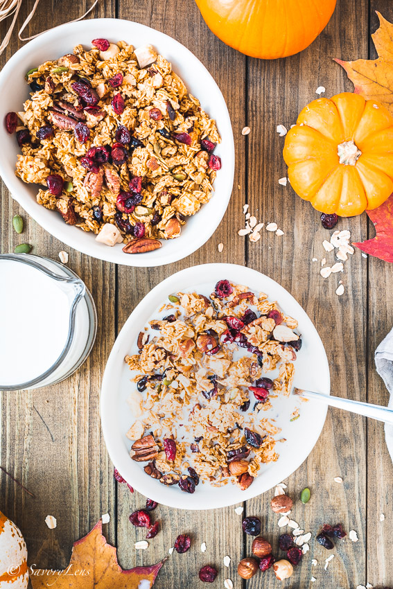 Pumpkin Spice Granola mit Cranberrries