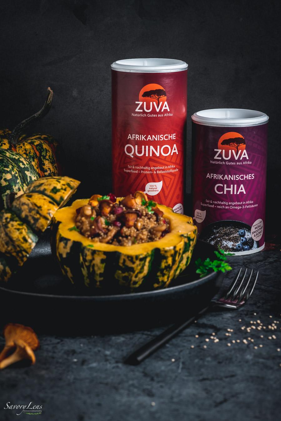 Gefüllter Kürbis mit Quinoa-Risotto und Pfifferlingen