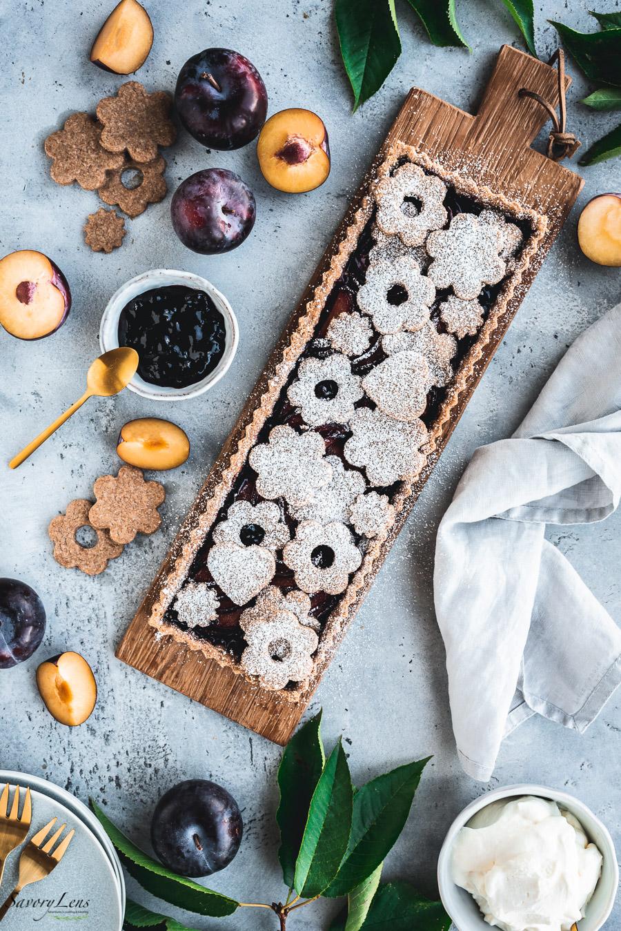 Pflaumenkuchen mitVollkorn-Zimt-Mürbeteig