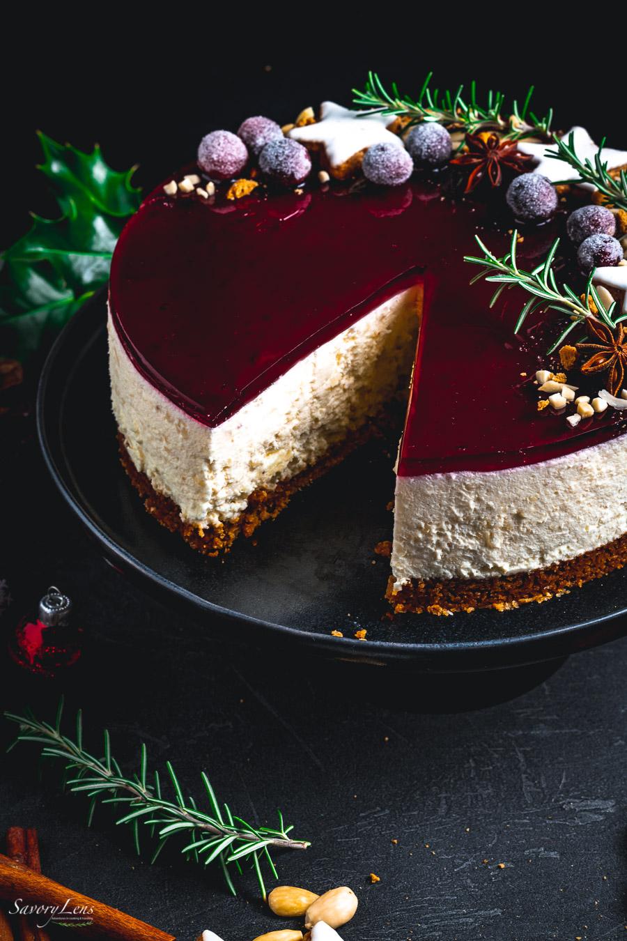 Risalamande Cheesecake mit Glühwein-Guss