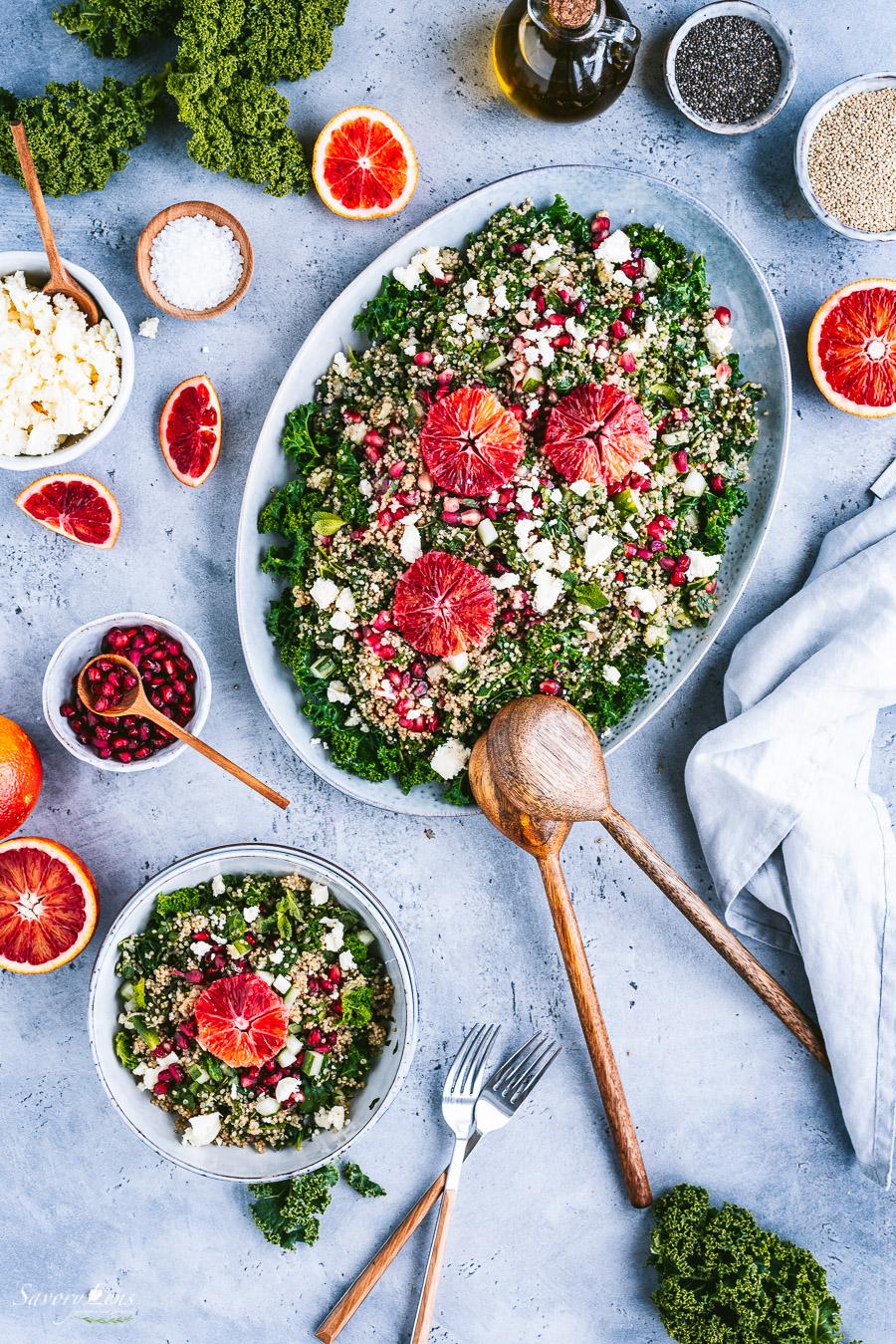 Grünkohl-Quinoa-Salat mit Blutorangen-Chia-Dressing