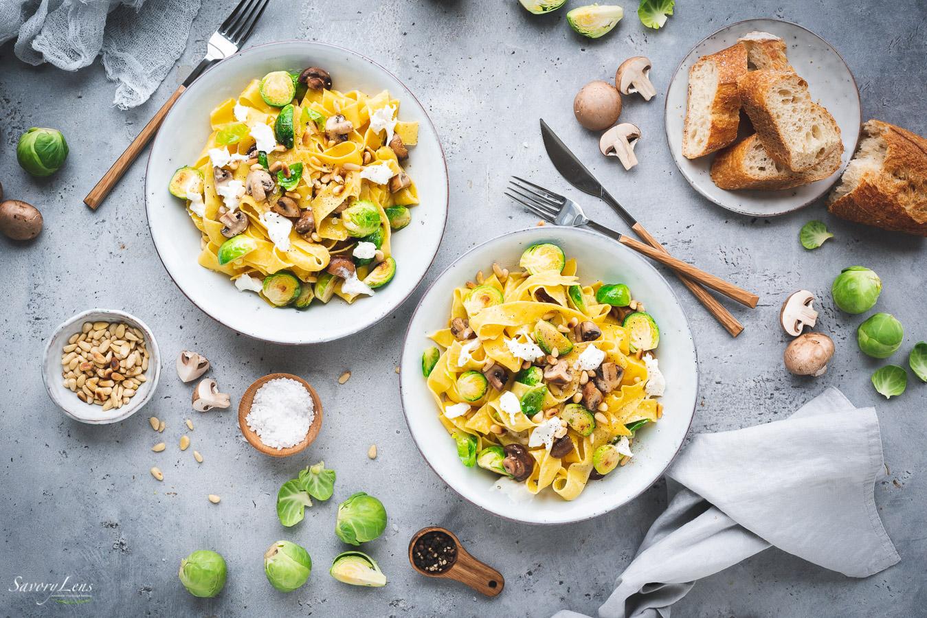 Pappardelle mit Rosenkohl, Pilzen und Burrata – SavoryLens