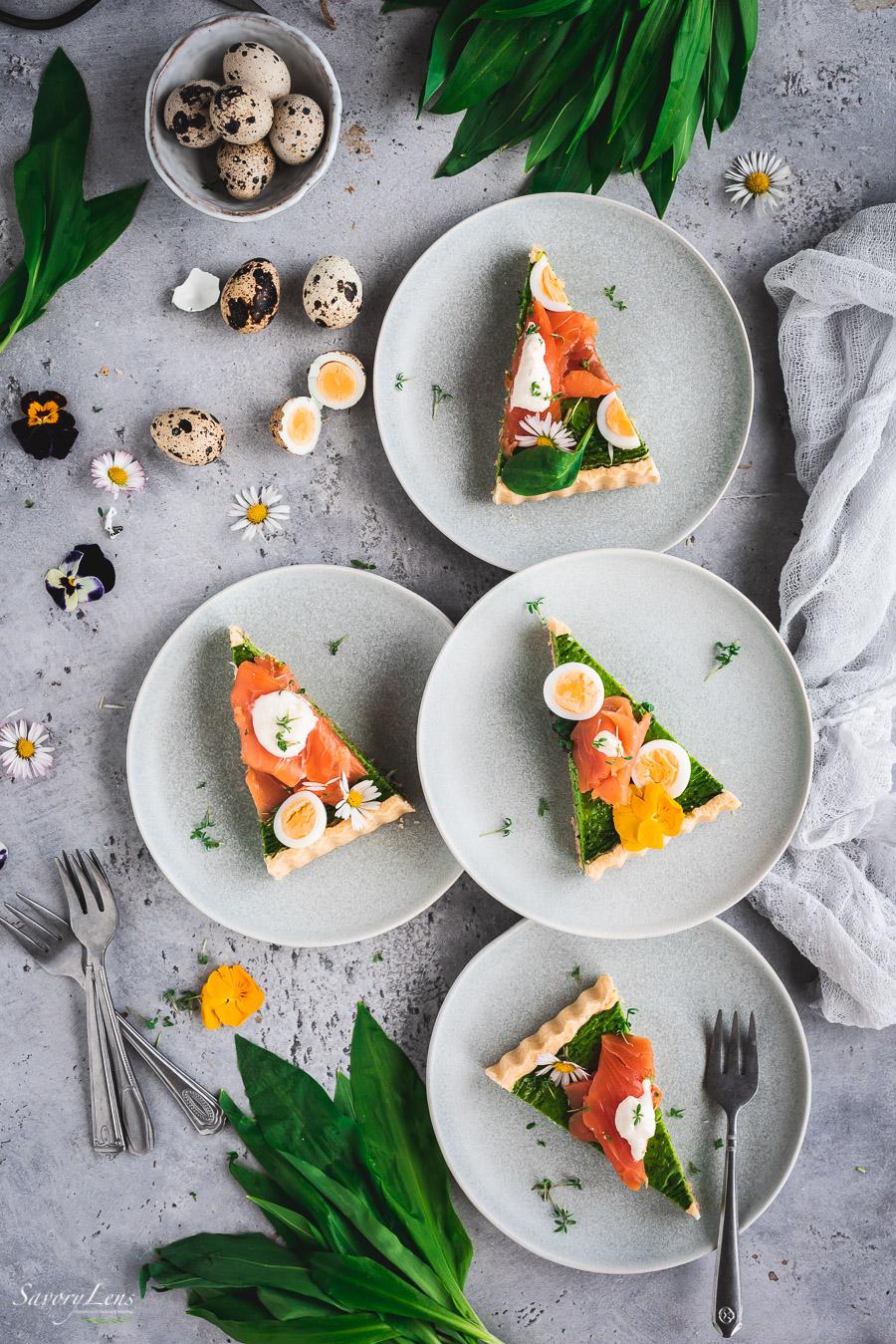 Bärlauch-Spinat-Tarte mit Wildlachs